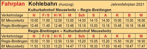 Fahrplan - Coal Railway Association