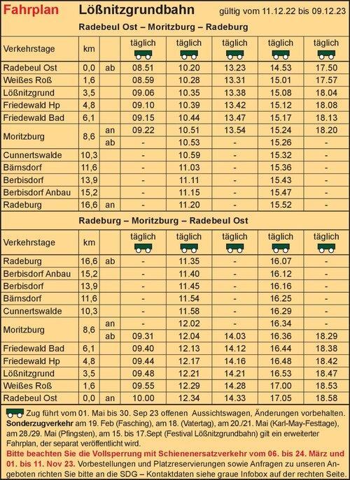 Fahrplan - Lößnitzgrundbahn - SDG mbH railway company