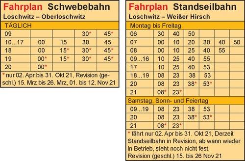 Fahrplan - Mountain railways Dresden