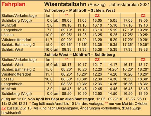 Fahrplan - Wisentatalbahn Schönberg – Schleiz (Wisentatalbahn railway from Schönberg to Schleiz)